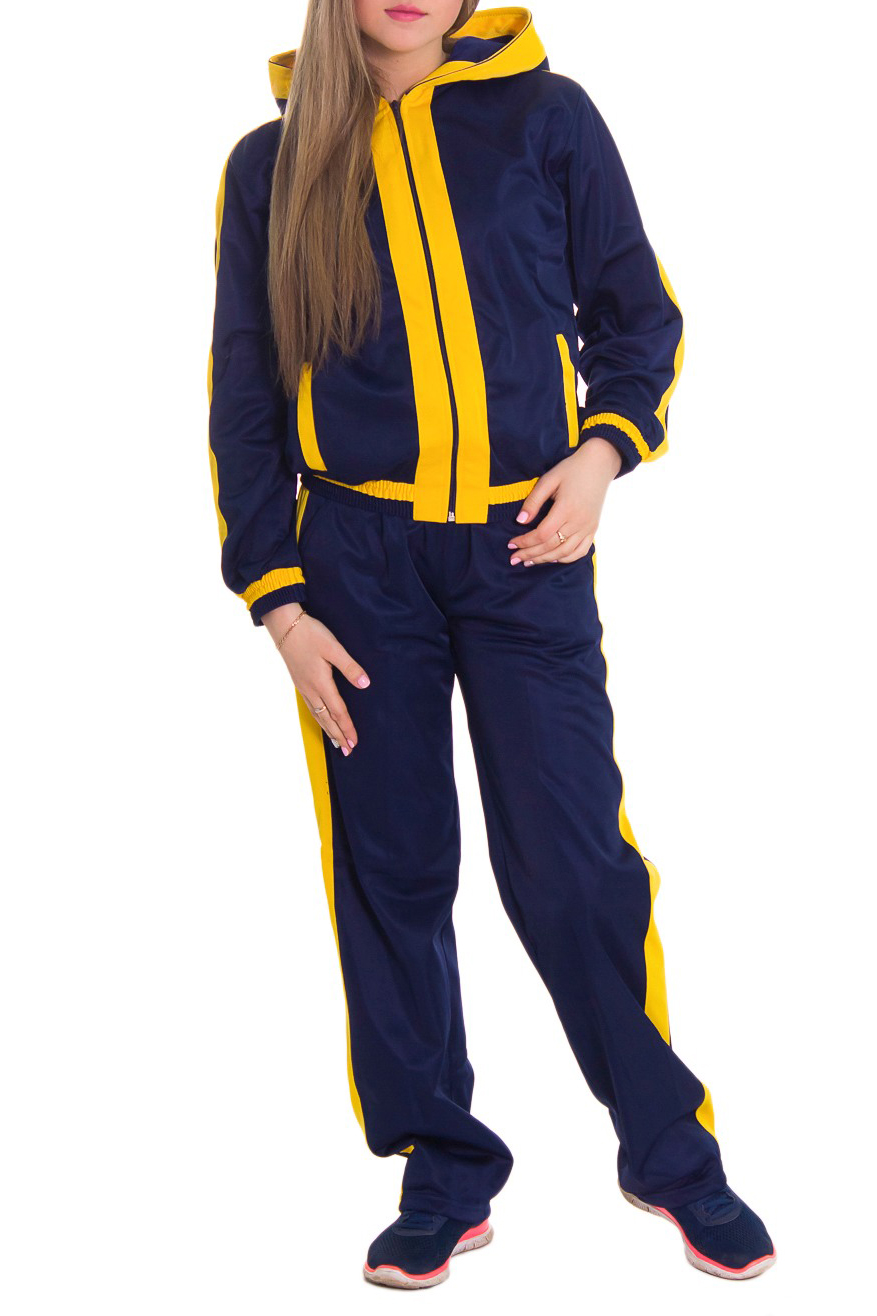 Спортивный костюмСпортивные костюмы<br>Женский спортивный костюм из эластичной ткани. Отличный выбор для занятий спортом или активного отдыха.  Рост девушки-фотомодели 164 см  Цвет: синий, желтый<br><br>Воротник: Стойка<br>По длине: Макси<br>По рисунку: Цветные<br>По сезону: Весна,Осень<br>По силуэту: Свободные<br>По форме: Костюм двойка,Брюки<br>По элементам: С капюшоном,С карманами,С манжетами<br>Рукав: Длинный рукав<br>По материалу: Синтетические волокна<br>По стилю: Спортивный стиль<br>Застежка: С молнией<br>Размер : 46,48,50<br>Материал: Полиэстер<br>Количество в наличии: 4
