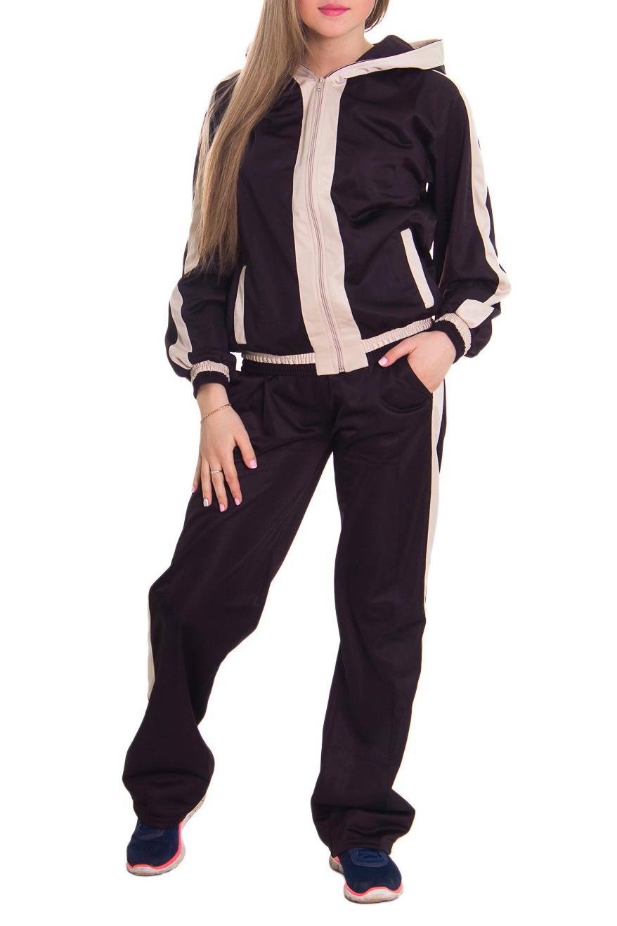 Спортивный костюмСпортивные костюмы<br>Женский спортивный костюм из эластичной ткани. Отличный выбор для занятий спортом или активного отдыха.  Рост девушки-фотомодели 164 см  Цвет: коричневый, бежевый<br><br>Воротник: Стойка<br>По длине: Макси<br>По материалу: Синтетические волокна<br>По рисунку: Цветные<br>По силуэту: Свободные<br>По стилю: Спортивный стиль<br>По форме: Костюм двойка,Спортивные брюки<br>По элементам: С капюшоном,С карманами,С манжетами<br>Застежка: С молнией<br>Рукав: Длинный рукав<br>По сезону: Осень,Весна<br>Размер : 44,46,48,50<br>Материал: Полиэстер<br>Количество в наличии: 4