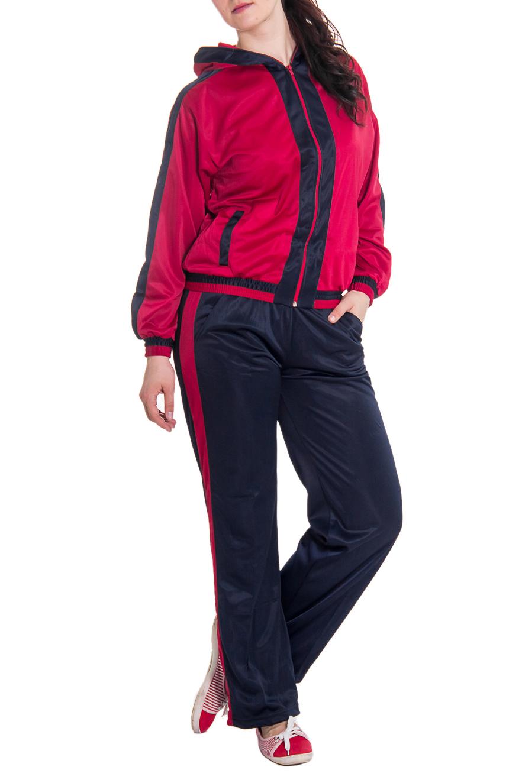 Спортивный костюмСпортивные костюмы<br>Женский спортивный костюм из эластичной ткани. Отличный выбор для занятий спортом или активного отдыха.  Рост девушки-фотомодели 180 см  Цвет: красный, синий<br><br>По длине: Макси<br>По рисунку: Цветные<br>По сезону: Весна,Осень<br>По форме: Костюм двойка,Спортивные брюки<br>Рукав: Длинный рукав<br>Воротник: Стойка<br>По силуэту: Полуприталенные<br>По элементам: С манжетами<br>Размер : 44,46,48<br>Материал: Полиэстер<br>Количество в наличии: 7