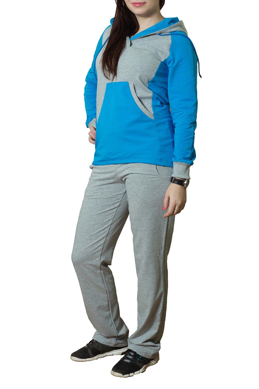 Спортивный костюмСпортивные костюмы<br>Женский спортивный костюм с капюшоном и длинными рукавами. Модель выполнена из хлопковой ткани. Отличный выбор для активного отдыха.  Цвет: серый, голубой<br><br>По длине: Макси<br>По образу: Город<br>По рисунку: Цветные<br>По сезону: Весна,Осень<br>По силуэту: Полуприталенные<br>По форме: Костюм двойка,Брюки<br>По элементам: С капюшоном,С карманами,С манжетами<br>Рукав: Длинный рукав<br>По материалу: Хлопок<br>По стилю: Спортивный стиль,Молодежный стиль,Повседневный стиль<br>Размер : 44,46<br>Материал: Трикотаж<br>Количество в наличии: 4