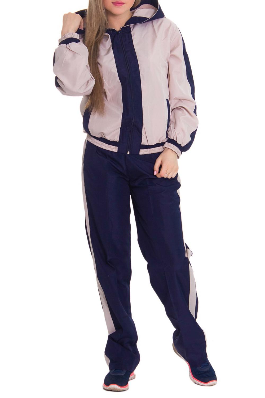 Спортивный костюмСпортивные костюмы<br>Женский спортивный костюм из непродуваемой ткани. Отличный выбор для занятий спортом или активного отдыха.  Рост девушки-фотомодели 164 см  Цвет: темно-синий, бежевый<br><br>По длине: Макси<br>По рисунку: Цветные<br>По сезону: Весна,Осень<br>По силуэту: Свободные<br>По форме: Костюм двойка,Спортивные брюки<br>По элементам: С капюшоном,С карманами,С манжетами<br>Рукав: Длинный рукав<br>По стилю: Спортивный стиль<br>Застежка: С молнией<br>Размер : 44<br>Материал: Плащевая ткань<br>Количество в наличии: 1