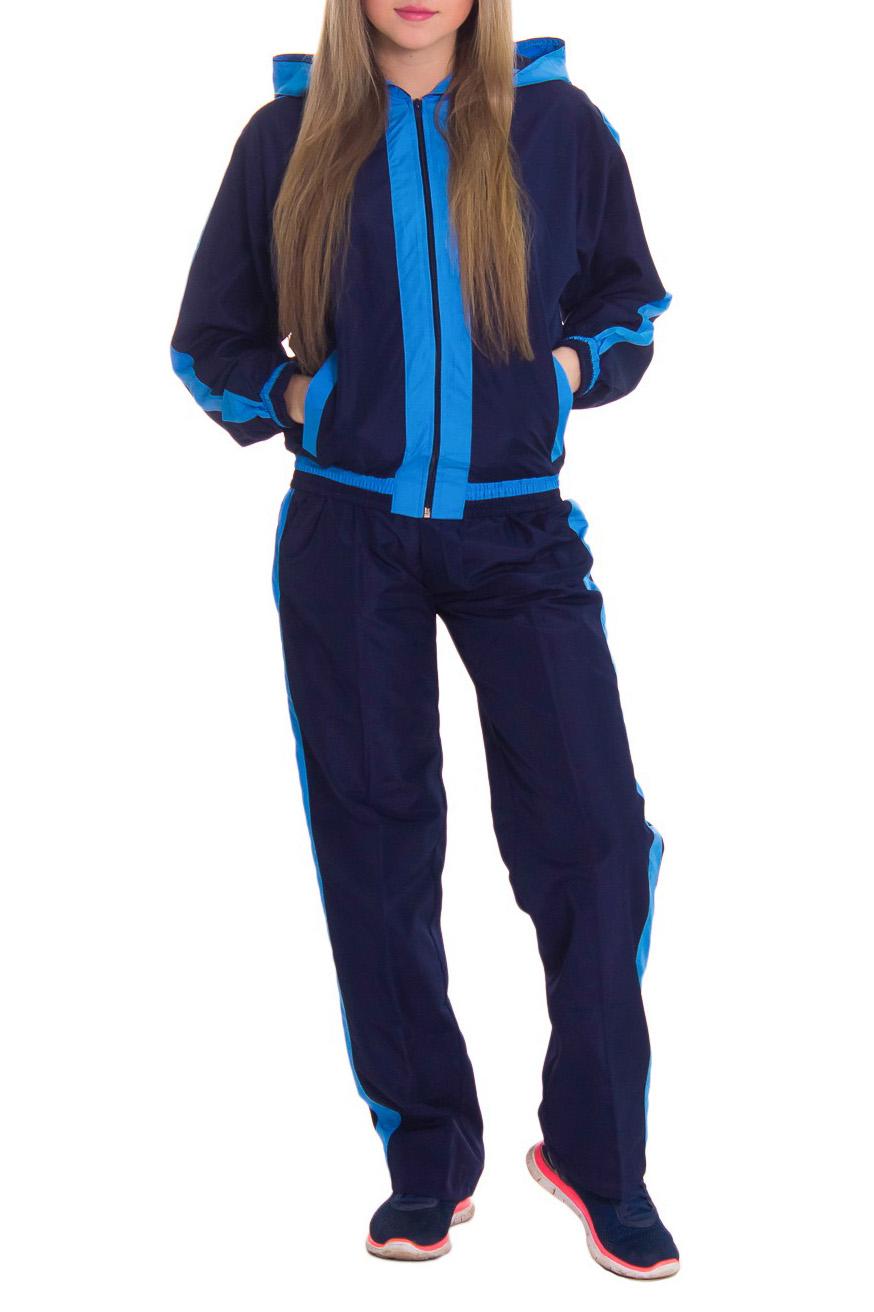 Спортивный костюмСпортивные костюмы<br>Женский спортивный костюм из непродуваемой ткани. Отличный выбор для занятий спортом или активного отдыха.  Рост девушки-фотомодели 164 см  Цвет: синий, голубой<br><br>По длине: Макси<br>По рисунку: Цветные<br>По сезону: Зима,Осень,Весна<br>По силуэту: Свободные<br>По стилю: Спортивный стиль<br>По форме: Костюм двойка,Спортивные брюки<br>По элементам: С капюшоном,С карманами,С манжетами<br>Застежка: С молнией<br>Рукав: Длинный рукав<br>Размер : 44,46<br>Материал: Плащевая ткань<br>Количество в наличии: 4