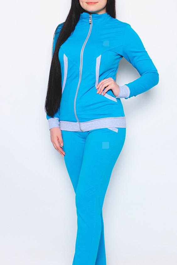 Спортивный костюмСпортивные костюмы<br>Женский спортивный костюм из эластичного трикотажа. Отличный выбор для активного отдыха.  Цвет: голубой, серый<br><br>Воротник: Стойка<br>По длине: Макси<br>По образу: Город,Спорт<br>По рисунку: Цветные<br>По сезону: Весна,Осень<br>По силуэту: Полуприталенные<br>По форме: Костюм двойка,Брюки<br>По элементам: С карманами<br>Рукав: Длинный рукав<br>По материалу: Хлопок<br>По стилю: Повседневный стиль<br>Застежка: С молнией<br>Размер : 44,46,48,50,52,54<br>Материал: Хлопок<br>Количество в наличии: 1