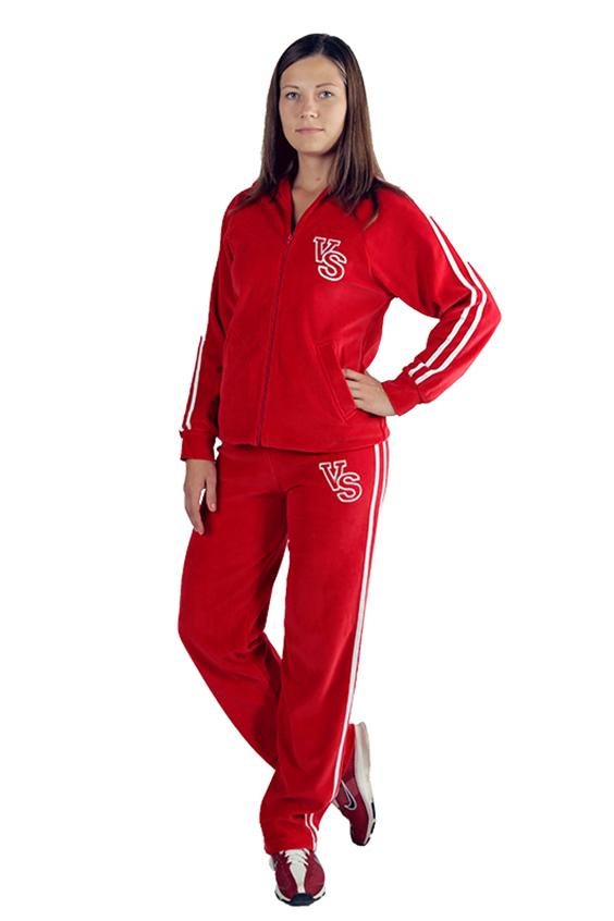 Спортивный костюмСпортивные костюмы<br>Удобный спортивный костюм из мягкого велюра. Костюм состоит из кофты и брюк. Отличный выбор для занятий спортом или активного отдыха.  Цвет: красный, белый  Рост девушки-фотомодели 170 см.<br><br>По образу: Город,Спорт<br>По стилю: Спортивный стиль,Повседневный стиль<br>По материалу: Трикотаж<br>По рисунку: Цветные<br>По сезону: Весна,Всесезон,Осень<br>По силуэту: Полуприталенные<br>По элементам: С манжетами,С карманами<br>По форме: Брюки,Костюм двойка<br>По длине: Макси<br>Воротник: Стойка<br>Рукав: Длинный рукав<br>Размер: 48,50,52<br>Материал: 100% хлопок<br>Количество в наличии: 2