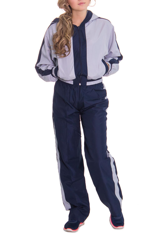 Спортивный костюмСпортивные костюмы<br>Женский спортивный костюм из непродуваемой ткани. Отличный выбор для занятий спортом или активного отдыха.  Рост девушки-фотомодели 164 см  Цвет: синий, серый<br><br>По длине: Макси<br>По рисунку: Цветные<br>По силуэту: Свободные<br>По стилю: Спортивный стиль<br>По форме: Брюки,Костюм двойка<br>По элементам: С капюшоном,С карманами,С манжетами<br>Застежка: С молнией<br>Рукав: Длинный рукав<br>По сезону: Осень,Весна<br>Размер : 44<br>Материал: Плащевая ткань<br>Количество в наличии: 1