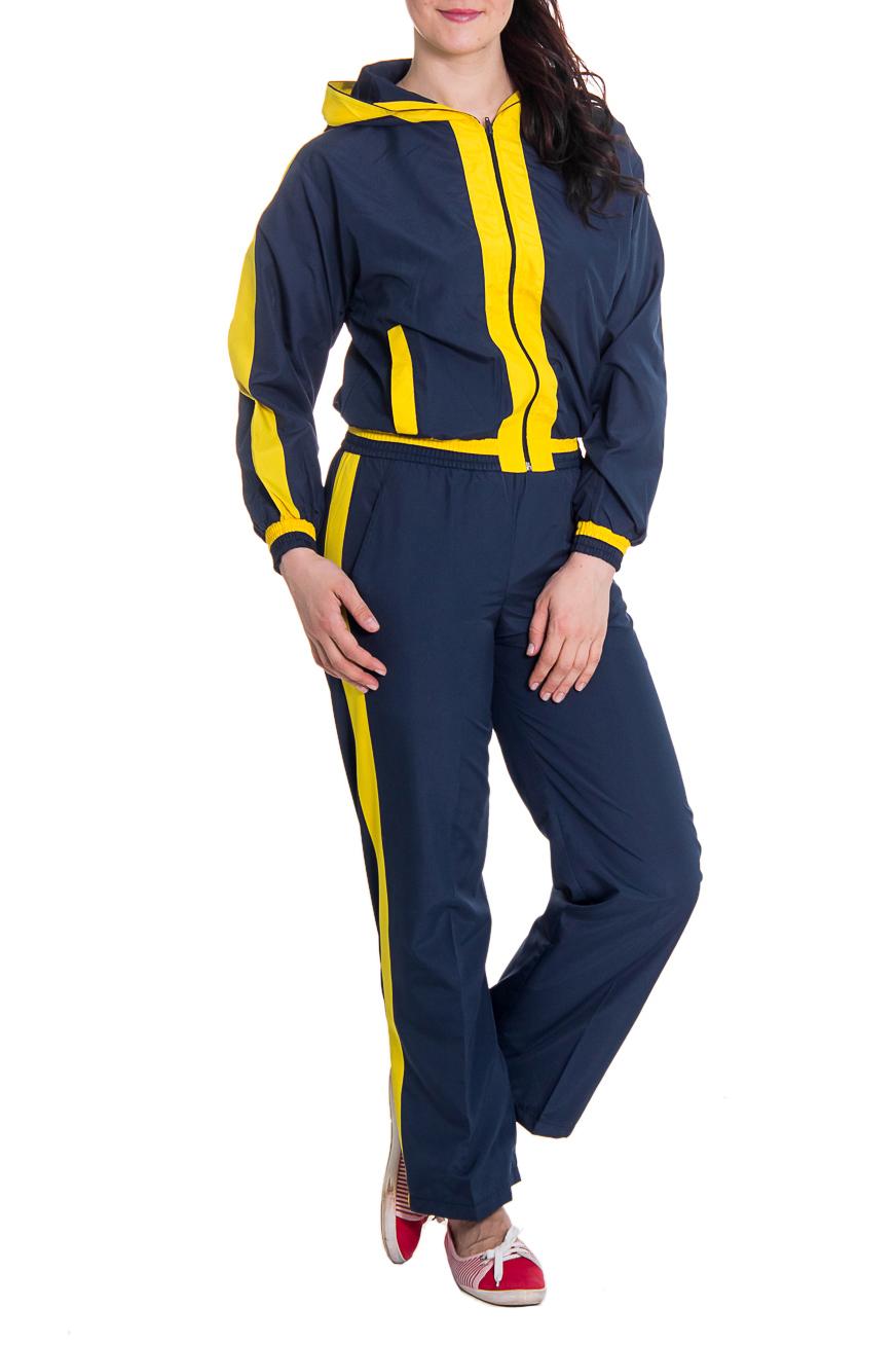 Спортивный костюмСпортивные костюмы<br>Женский спортивный костюм из непродуваемой ткани. Отличный выбор для занятий спортом или активного отдыха.  Рост девушки-фотомодели 180 см  Цвет: синий, желтый<br><br>По длине: Макси<br>По рисунку: Цветные<br>По сезону: Весна,Осень<br>По силуэту: Свободные<br>По форме: Костюм двойка,Брюки<br>По элементам: С карманами,С манжетами<br>Рукав: Длинный рукав<br>По стилю: Спортивный стиль<br>Застежка: С молнией<br>Размер : 46,48<br>Материал: Плащевая ткань<br>Количество в наличии: 2