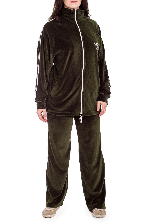 Спортивный костюмСпортивные костюмы<br>Удобный костюм из мягкого велюра. Отличный выбор для занятий спортом или активного отдыха.  В изделии использованы цвета: хаки  Рост девушки-фотомодели 180 см.<br><br>Воротник: Стойка<br>Застежка: С молнией<br>По длине: Макси<br>По рисунку: Цветные<br>По силуэту: Полуприталенные<br>По стилю: Спортивный стиль<br>По форме: Костюм двойка,Спортивные брюки<br>По элементам: С карманами,С манжетами<br>Рукав: Длинный рукав<br>По сезону: Зима<br>Размер : 56<br>Материал: Велюр<br>Количество в наличии: 1