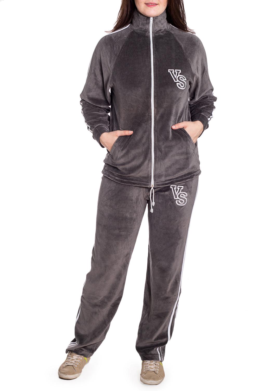 Спортивный костюмСпортивные костюмы<br>Удобный костюм из мягкого велюра. Отличный выбор для занятий спортом или активного отдыха.  В изделии использованы цвета: серый  Рост девушки-фотомодели 180 см.<br><br>Воротник: Стойка<br>Застежка: С молнией<br>По длине: Макси<br>По рисунку: Цветные<br>По силуэту: Полуприталенные<br>По стилю: Спортивный стиль<br>По форме: Брюки,Костюм двойка<br>По элементам: С карманами,С манжетами<br>Рукав: Длинный рукав<br>По сезону: Зима<br>Размер : 50<br>Материал: Велюр<br>Количество в наличии: 1