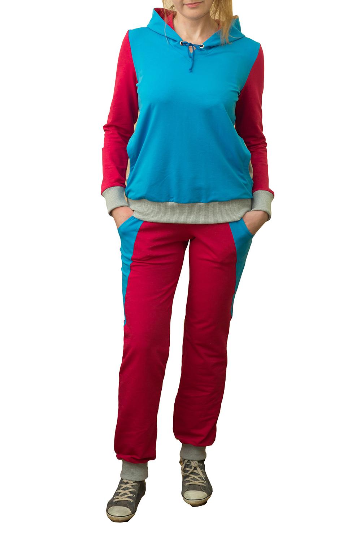 Спортивный костюмСпортивные костюмы<br>Женский спортивный костюм с капюшоном и длинными рукавами. Модель выполнена из хлопковой ткани. Отличный выбор для активного отдыха.  Цвет: розовый, голубой<br><br>По образу: Город<br>По стилю: Спортивный стиль,Молодежный стиль,Повседневный стиль<br>По материалу: Хлопок<br>По рисунку: Цветные<br>По сезону: Весна,Осень<br>По силуэту: Полуприталенные<br>По элементам: С капюшоном<br>По форме: Костюм двойка,Брюки<br>По длине: Макси<br>Рукав: Длинный рукав<br>Размер: 44,46,48,50<br>Материал: 94% хлопок 6% эластан<br>Количество в наличии: 4