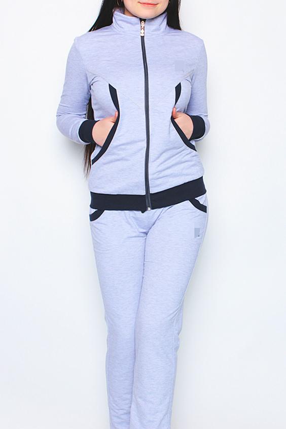 Спортивный костюмСпортивные костюмы<br>Женский спортивный костюм из эластичного трикотажа. Отличный выбор для активного отдыха.  Цвет: серый, черный<br><br>Воротник: Стойка<br>По длине: Макси<br>По образу: Город,Спорт<br>По рисунку: Цветные<br>По сезону: Весна,Осень<br>По силуэту: Полуприталенные<br>По форме: Костюм двойка,Брюки<br>По элементам: С карманами,С манжетами<br>Рукав: Длинный рукав<br>По материалу: Хлопок<br>По стилю: Повседневный стиль<br>Застежка: С молнией<br>Размер : 44,46<br>Материал: Хлопок<br>Количество в наличии: 2