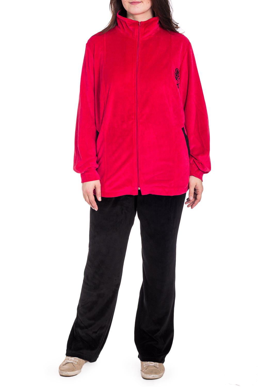 Спортивный костюмСпортивные костюмы<br>Удобный костюм из мягкого велюра. Отличный выбор для занятий спортом или активного отдыха.  В изделии использованы цвета: черный, красный  Рост девушки-фотомодели 180 см.<br><br>Воротник: Стойка<br>Застежка: С молнией<br>По длине: Макси<br>По рисунку: Цветные<br>По силуэту: Полуприталенные<br>По стилю: Спортивный стиль<br>По форме: Костюм двойка,Спортивные брюки<br>По элементам: С карманами,С манжетами<br>Рукав: Длинный рукав<br>По сезону: Зима<br>Размер : 62<br>Материал: Велюр<br>Количество в наличии: 1