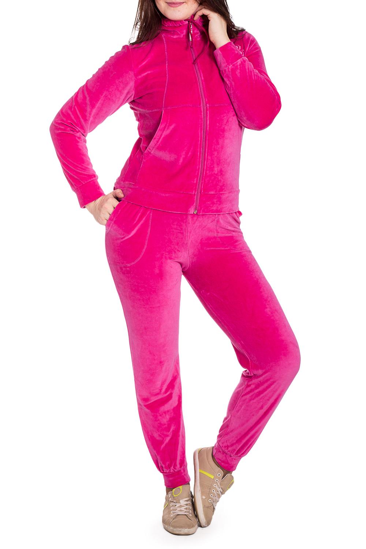 Спортивный костюмСпортивные костюмы<br>Удобный костюм из мягкого велюра. Отличный выбор для занятий спортом или активного отдыха.  В изделии использованы цвета: розовый  Рост девушки-фотомодели 180 см.<br><br>Воротник: Стойка<br>Застежка: С молнией<br>По длине: Макси<br>По рисунку: Однотонные<br>По сезону: Осень,Зима<br>По силуэту: Полуприталенные<br>По стилю: Спортивный стиль<br>По форме: Костюм двойка,Спортивные брюки<br>По элементам: С карманами,С манжетами<br>Рукав: Длинный рукав<br>Размер : 48<br>Материал: Велюр<br>Количество в наличии: 1