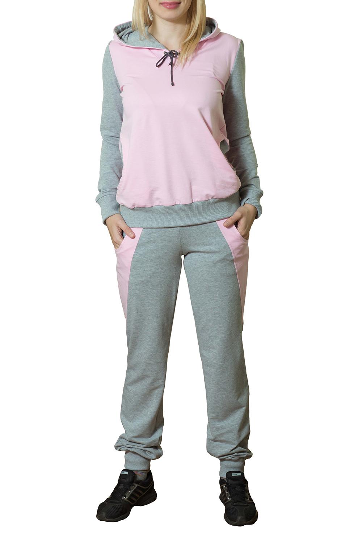 Спортивный костюмСпортивные костюмы<br>Женский спортивный костюм с капюшоном и длинными рукавами. Модель выполнена из хлопковой ткани. Отличный выбор для активного отдыха.  Цвет: серый, розовый<br><br>По длине: Макси<br>По рисунку: Цветные<br>По сезону: Весна,Осень<br>По силуэту: Полуприталенные<br>По форме: Костюм двойка,Спортивные брюки<br>По элементам: С капюшоном,С карманами,С манжетами<br>Рукав: Длинный рукав<br>По материалу: Хлопок<br>По стилю: Спортивный стиль,Молодежный стиль,Повседневный стиль<br>Размер : 44,46,48,50<br>Материал: Трикотаж<br>Количество в наличии: 11