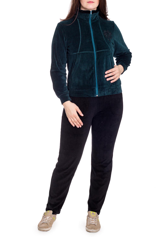 Спортивный костюмСпортивные костюмы<br>Удобный костюм из мягкого велюра. Отличный выбор для занятий спортом или активного отдыха.  В изделии использованы цвета: изумрудный, темно-синий  Рост девушки-фотомодели 180 см.<br><br>Воротник: Стойка<br>Застежка: С молнией<br>По длине: Макси<br>По рисунку: Цветные<br>По силуэту: Полуприталенные<br>По стилю: Спортивный стиль<br>По форме: Костюм двойка,Спортивные брюки<br>По элементам: С карманами,С манжетами<br>Рукав: Длинный рукав<br>По сезону: Зима<br>Размер : 46<br>Материал: Велюр<br>Количество в наличии: 1