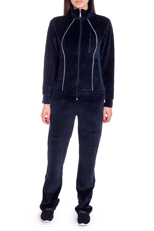 Спортивный костюмСпортивные костюмы<br>Удобный костюм из мягкого велюра. Отличный выбор для занятий спортом или активного отдыха.  В изделии использованы цвета: темно-синий  Рост девушки-фотомодели 170 см.<br><br>Воротник: Стойка<br>Застежка: С молнией<br>По длине: Макси<br>По рисунку: Однотонные<br>По силуэту: Полуприталенные<br>По стилю: Спортивный стиль<br>По форме: Брюки,Костюм двойка<br>По элементам: С карманами,С манжетами<br>Рукав: Длинный рукав<br>По сезону: Зима<br>Размер : 46,48<br>Материал: Велюр<br>Количество в наличии: 2