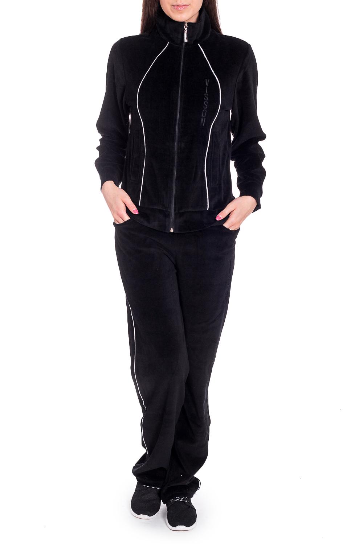 Спортивный костюмСпортивные костюмы<br>Удобный костюм из мягкого велюра. Отличный выбор для занятий спортом или активного отдыха.  В изделии использованы цвета: черный  Рост девушки-фотомодели 170 см.<br><br>Воротник: Стойка<br>Застежка: С молнией<br>По длине: Макси<br>По рисунку: Однотонные<br>По силуэту: Полуприталенные<br>По стилю: Спортивный стиль<br>По форме: Брюки,Костюм двойка<br>По элементам: С карманами,С манжетами<br>Рукав: Длинный рукав<br>По сезону: Зима<br>Размер : 46<br>Материал: Велюр<br>Количество в наличии: 1