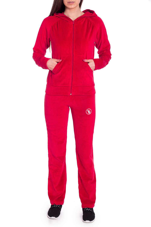 Спортивный костюмСпортивные костюмы<br>Удобный костюм из мягкого велюра. Отличный выбор для занятий спортом или активного отдыха.  В изделии использованы цвета: красный  Рост девушки-фотомодели 170 см.<br><br>Воротник: Стойка<br>Застежка: С молнией<br>По длине: Макси<br>По рисунку: Однотонные<br>По силуэту: Полуприталенные<br>По стилю: Спортивный стиль<br>По форме: Брюки,Костюм двойка<br>По элементам: С капюшоном,С карманами,С манжетами<br>Рукав: Длинный рукав<br>По сезону: Зима<br>Размер : 46<br>Материал: Велюр<br>Количество в наличии: 1