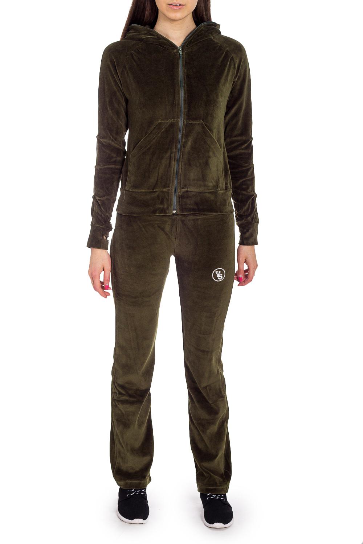 Спортивный костюмСпортивные костюмы<br>Удобный костюм из мягкого велюра. Отличный выбор для занятий спортом или активного отдыха.  В изделии использованы цвета: хаки  Рост девушки-фотомодели 170 см.<br><br>Воротник: Стойка<br>Застежка: С молнией<br>По длине: Макси<br>По рисунку: Однотонные<br>По силуэту: Полуприталенные<br>По стилю: Спортивный стиль<br>По форме: Костюм двойка,Спортивные брюки<br>По элементам: С карманами,С манжетами,С капюшоном<br>Рукав: Длинный рукав<br>По сезону: Зима<br>Размер : 44,46<br>Материал: Велюр<br>Количество в наличии: 2