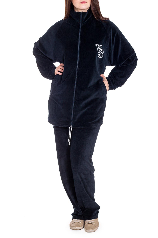 Спортивный костюмСпортивные костюмы<br>Удобный костюм из мягкого велюра. Отличный выбор для занятий спортом или активного отдыха.  В изделии использованы цвета: темно-синий  Рост девушки-фотомодели 180 см.<br><br>Воротник: Стойка<br>Застежка: С молнией<br>По длине: Макси<br>По образу: Спорт<br>По рисунку: Однотонные<br>По сезону: Осень,Зима<br>По силуэту: Полуприталенные<br>По стилю: Спортивный стиль<br>По форме: Брюки,Костюм двойка<br>По элементам: С карманами,С манжетами<br>Рукав: Длинный рукав<br>Размер : 56,58<br>Материал: Велюр<br>Количество в наличии: 2