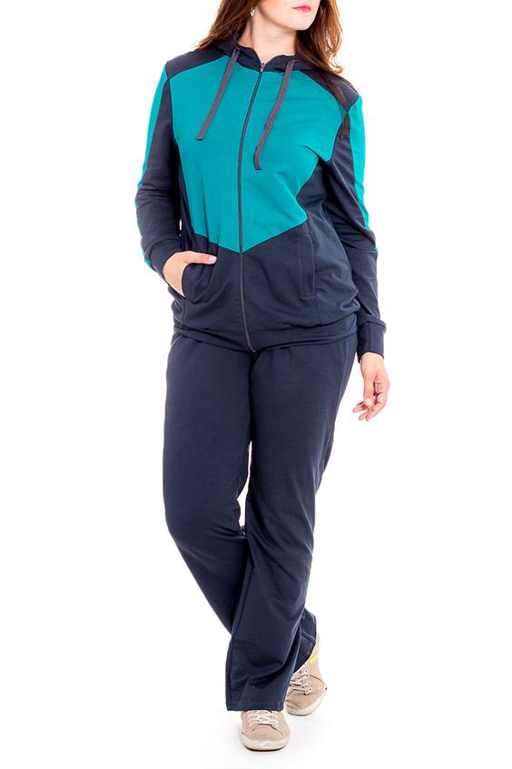 Костюм спортивныйСпортивные костюмы<br>Цветной костюм из эластичного трикотажа. Отличный выбор для занятий спортом или активного отдыха.  В изделии использованы цвета: синий, бирюзовый  Рост девушки-фотомодели 170 см.<br><br>Воротник: Стойка<br>Застежка: С молнией<br>По длине: Макси<br>По материалу: Трикотаж,Флис<br>По рисунку: Цветные<br>По силуэту: Полуприталенные<br>По стилю: Повседневный стиль,Спортивный стиль<br>По форме: Брюки,Костюм двойка<br>По элементам: С капюшоном,С карманами,С манжетами<br>Рукав: Длинный рукав<br>По сезону: Осень,Весна<br>Размер : 56,58,60,64<br>Материал: Трикотаж<br>Количество в наличии: 4