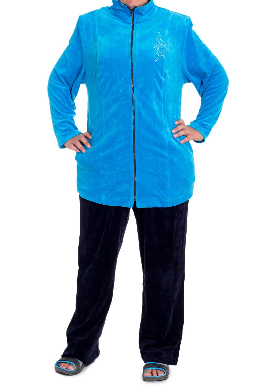 КостюмСпортивные костюмы<br>Красивый спортивный костюм из мягкого и эластичного велюра. Отличный выбор для занятий спортом и активного отдыха.  В изделии использованы цвета: синий, черный  Ростовка изделия 170 см<br><br>Воротник: Стойка<br>Застежка: С молнией<br>По длине: Макси<br>По материалу: Трикотаж<br>По рисунку: Цветные<br>По силуэту: Полуприталенные<br>По стилю: Повседневный стиль<br>По форме: Костюм двойка,Спортивные брюки<br>По элементам: С карманами<br>Рукав: Длинный рукав<br>По сезону: Осень,Весна,Зима<br>Размер : 60,64,66,68,70,72<br>Материал: Велюр<br>Количество в наличии: 8