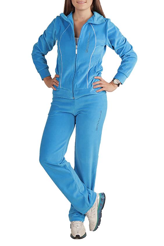 Спортивный костюмСпортивные костюмы<br>Удобный спортивный костюм. Модель выполнена из мягкого велюра. Отличный выбор для занятий спортом или активного отдыха. Вышивка может незначительно отличаться от изображенной на картинке.  Цвет: голубой  Ростовка изделия 170 см.<br><br>Воротник: Стойка<br>Застежка: С молнией<br>По длине: Макси<br>По материалу: Трикотаж<br>По рисунку: Однотонные<br>По силуэту: Полуприталенные<br>По стилю: Повседневный стиль,Спортивный стиль<br>По форме: Брюки,Костюм двойка<br>По элементам: С декором,С карманами,С манжетами<br>Рукав: Длинный рукав<br>По сезону: Осень,Весна<br>Размер : 46,48,50<br>Материал: Велюр<br>Количество в наличии: 3
