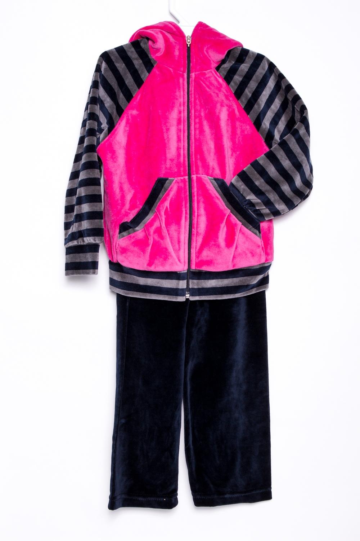 Спортивный костюмКостюмы<br>Удобный спортивный костюм для девочки. Модель выполнена из приятного материала. Отличный выбор для занятий спортом и активного отдыха.  В изделии использованы цвета: черный, розовый, серый  Размер 74 соответствует росту 70-73 см Размер 80 соответствует росту 74-80 см Размер 86 соответствует росту 81-86 см Размер 92 соответствует росту 87-92 см Размер 98 соответствует росту 93-98 см Размер 104 соответствует росту 98-104 см Размер 110 соответствует росту 105-110 см Размер 116 соответствует росту 111-116 см Размер 122 соответствует росту 117-122 см Размер 128 соответствует росту 123-128 см Размер 134 соответствует росту 129-134 см Размер 140 соответствует росту 135-140 см Размер 146 соответствует росту 141-146 см Размер 152 соответствует росту 147-152 см Размер 158 соответствует росту 153-158 см Размер 164 соответствует росту 159-164 см<br><br>По возрасту: Дошкольные ( от 3 до 7 лет),Ясельные ( от 1 до 3 лет)<br>По длине: Удлиненные<br>По материалу: Хлопковые<br>По образу: Повседневные,Уличные<br>По рисунку: В полоску,Цветные<br>По сезону: Зима,Осень,Весна<br>По силуэту: Полуприталенные<br>По элементам: С карманами,С молнией,С капюшоном<br>Рукав: Длинный рукав<br>Размер : 122,98<br>Материал: Велюр<br>Количество в наличии: 2