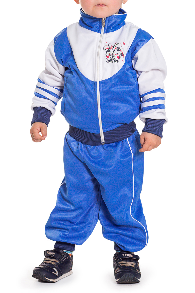 Спортивный костюмКостюмы<br>Спортивный костюм для мальчика  Цвет: голубой, белый, мультицвет  Размер 74 соответствует росту 70-73 см Размер 80 соответствует росту 74-80 см Размер 86 соответствует росту 81-86 см Размер 92 соответствует росту 87-92 см Размер 98 соответствует росту 93-98 см Размер 104 соответствует росту 98-104 см Размер 110 соответствует росту 105-110 см Размер 116 соответствует росту 111-116 см Размер 122 соответствует росту 117-122 см Размер 128 соответствует росту 123-128 см Размер 134 соответствует росту 129-134 см Размер 140 соответствует росту 135-140 см Размер 146 соответствует росту 141-146 см Размер 152 соответствует росту 147-152 см Размер 158 соответствует росту 153-158 см Размер 164 соответствует росту 159-164 см<br><br>Воротник: Стойка<br>По длине: Макси<br>По материалу: Трикотажные<br>По образу: Спорт<br>По рисунку: С принтом (печатью),Цветные<br>По силуэту: Полуприталенные<br>По форме: Костюм двойка<br>По элементам: С карманами<br>Рукав: Длинный рукав,С манжетой<br>По сезону: Осень,Весна<br>По возрасту: Ясельные ( от 1 до 3 лет)<br>По стилю: Спортивный стиль<br>Размер : 74,80<br>Материал: Полиэстер<br>Количество в наличии: 2
