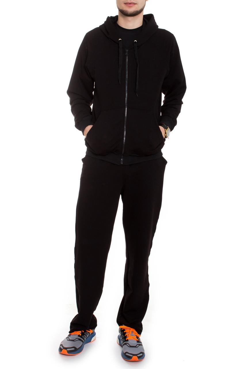 КостюмСпортивная одежда<br>Брюки и толстовка из мягкой ткани с ворсованной изнанкой (начес). Толстовка на молнии, карман кенгуру, рукав реглан, усилена спина, капюшон с завязкой-шнурком. На брюках широкий пояс на резинке, отстроченный, боковые карманы. Костюм мужской это удобство, многофункциональность и практичность.Цвет: черныйРост мужчины-фотомодели 182 см<br><br>Сезон: Осень,Весна,Зима<br>Горловина: V- горловина<br>Длина: Макси<br>Застежка: С завязками,С молнией,С резинкой<br>Материал: Трикотаж,Хлопок<br>Рисунок: Однотонные<br>Рукав: Длинный рукав<br>Стиль: Повседневный стиль,Спортивный стиль<br>Форма: Костюм двойка<br>Элементы: С застежкой,С капюшоном,С карманами,С манжетами,С подкладом<br>Размер : 48,50,54,56<br>Материал: Трикотаж<br>Количество в наличии: 5