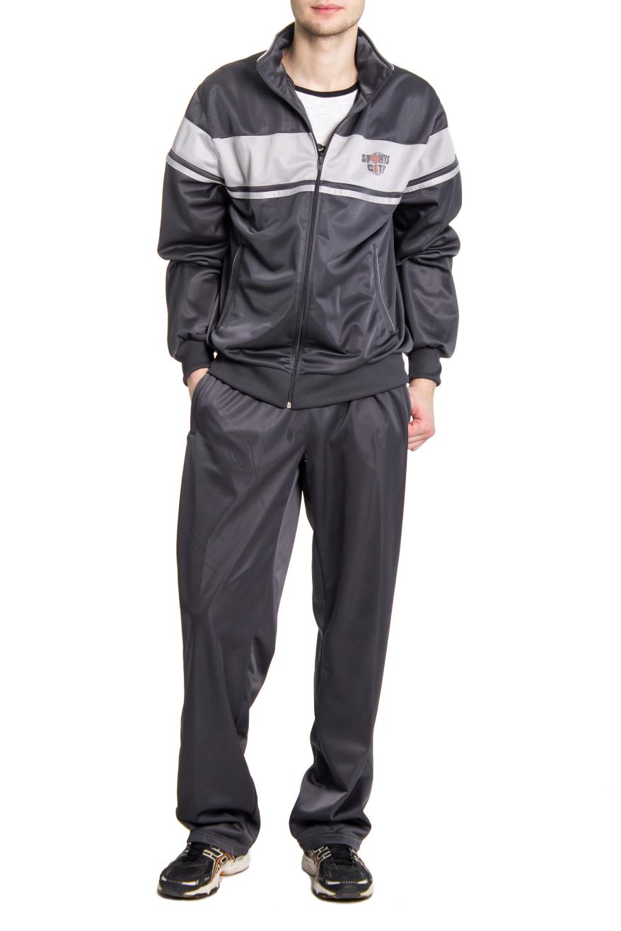 Спортивный костюмСпортивная одежда<br>Мужской спортивынй костюм из эластичного трикотажа. Отличный выбор для активного отдыха.  Цвет: серый  Рост мужчины фото-модели 182 см<br><br>По сезону: Осень,Весна<br>Размер : 48,50,52,54<br>Материал: Трикотаж<br>Количество в наличии: 5