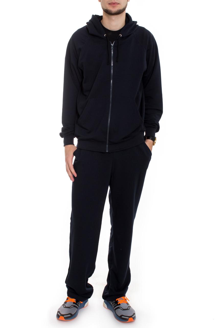 КостюмСпортивная одежда<br>Брюки и толстовка из мягкой ткани с ворсованной изнанкой (начес). Толстовка на молнии, карман кенгуру, рукав реглан, усилена спина, капюшон с завязкой-шнурком. На брюках широкий пояс на резинке, отстроченный, боковые карманы. Костюм мужской это удобство, многофункциональность и практичность.  Цвет: синий  Рост мужчины-фотомодели 182 см<br><br>По сезону: Осень,Весна<br>Размер : 48,50,52,54<br>Материал: Трикотаж<br>Количество в наличии: 6