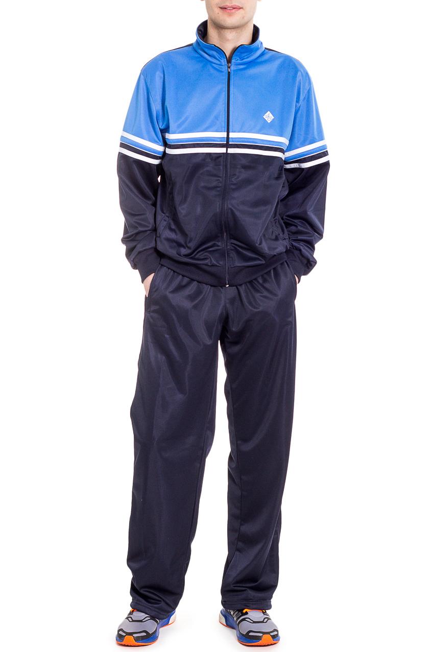 Спортивный костюмСпортивная одежда<br>Мужской спортивный костюм из эластичного трикотажа. Отличный выбор для активного отдыха.  Цвет: синий, голубой.  Рост мужчины-фотомодели 182 см<br><br>По сезону: Осень,Весна<br>Размер : 48,50,54,56<br>Материал: Полиэстер<br>Количество в наличии: 7