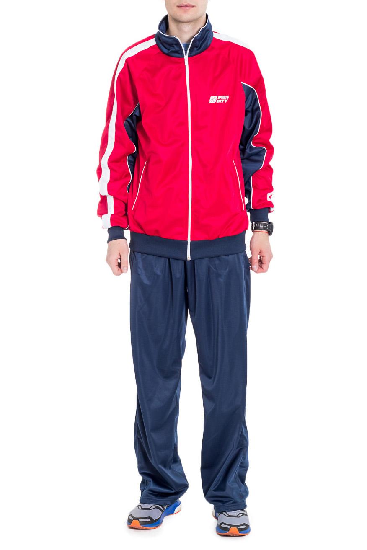Спортивный костюмСпортивная одежда<br>Мужской спортивный костюм из эластичной ткани. Отличный выбор для активного отдыха.  Цвет: синий, красный  Рост мужчины-фотомодели 182 см<br><br>По сезону: Всесезон<br>Размер : 50<br>Материал: Полиэстер<br>Количество в наличии: 1