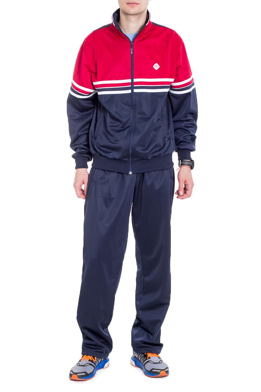 Спортивный костюмСпортивная одежда<br>Мужской спортивный костюм из эластичной ткани. Отличный выбор для активного отдыха.  Цвет: синий, красный, белый  Рост мужчины-фотомодели 182 см<br><br>По сезону: Всесезон<br>Размер : 48,50,52,54,56<br>Материал: Полиэстер<br>Количество в наличии: 6