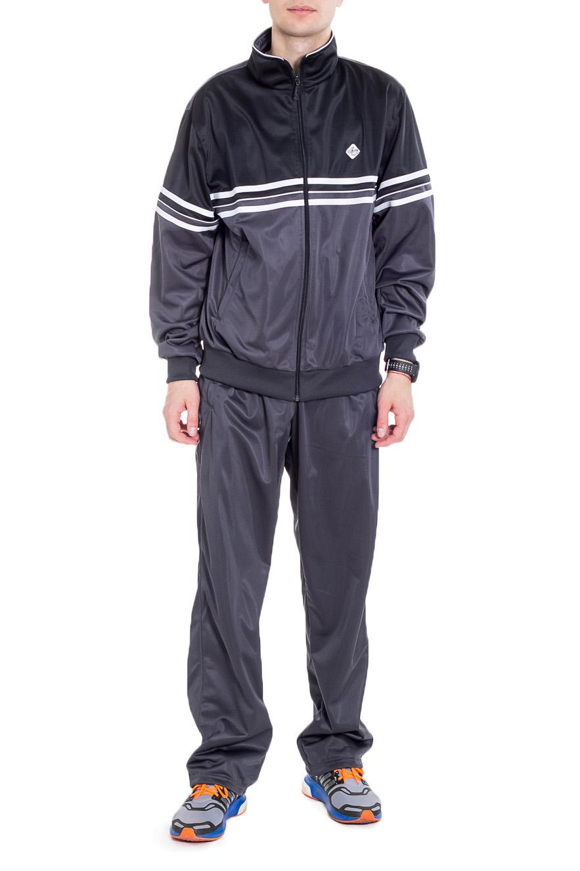 Спортивный костюмСпортивная одежда<br>Мужской спортивный костюм из эластичной ткани. Отличный выбор для активного отдыха.  Цвет: серый, черный, белый  Рост мужчины-фотомодели 182 см<br><br>По сезону: Всесезон<br>Размер : 48,50,52,54,56<br>Материал: Полиэстер<br>Количество в наличии: 5