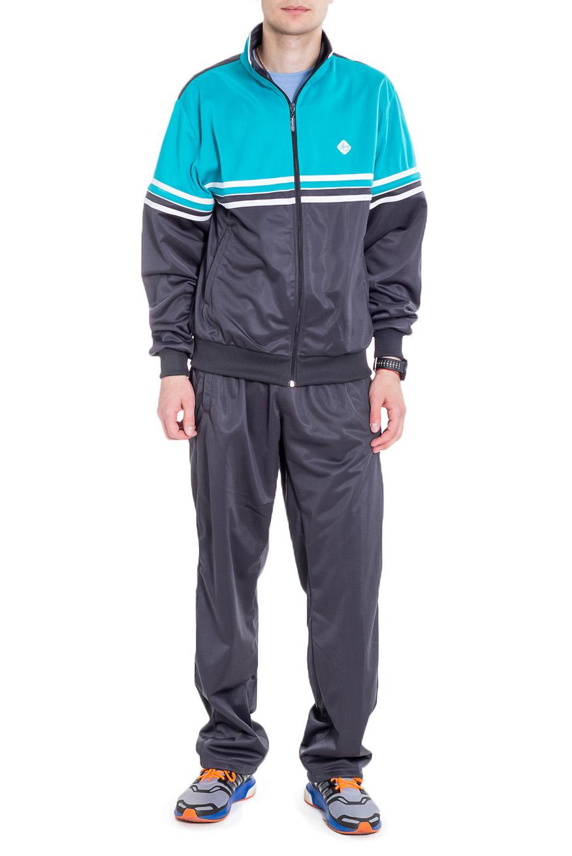 Спортивный костюмСпортивная одежда<br>Мужской спортивный костюм из эластичной ткани. Отличный выбор для активного отдыха.  Цвет: серый, бирюзовый  Рост мужчины-фотомодели 182 см<br><br>По сезону: Всесезон<br>Размер : 48,50,52,56<br>Материал: Полиэстер<br>Количество в наличии: 4