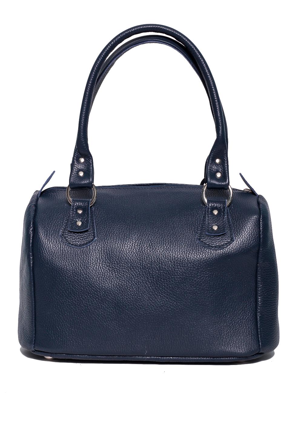 СумкаКлассические<br>Удобная и вместительная женская сумка. В сумке одно большое отделение,1 карман на замке, 2 маленьких.  Состав: верх - натуральная кожа Крс 100 %, подклад - полиэстер  Размеры: 25*28*18 см  Цвет: синий<br><br>Отделения: 1 отделение<br>По материалу: Натуральная кожа<br>По размеру: Средние<br>По рисунку: Однотонные<br>По способу ношения: В руках,На запастье<br>По типу застежки: С застежкой молнией<br>По элементам: Карман под телефон<br>Ручки: Короткие<br>По форме: Полукруглые<br>Размер : UNI<br>Материал: Натуральная кожа<br>Количество в наличии: 1