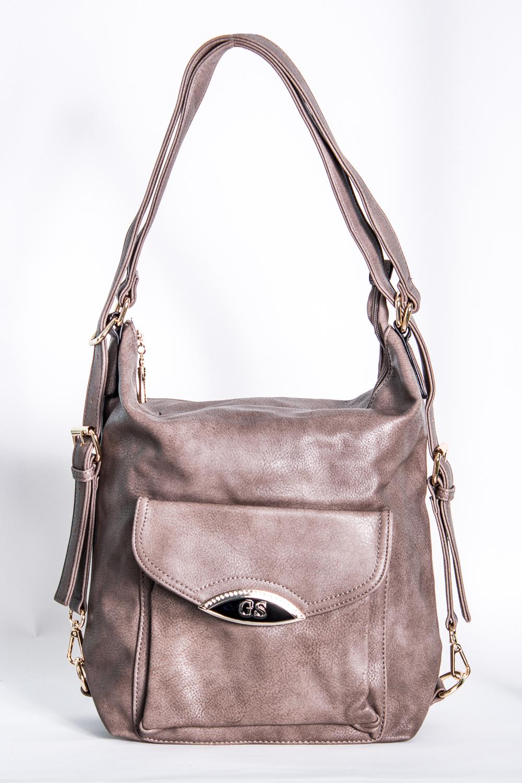 Сумка-шоппингСумки-шоппинг<br>Удобная и вместительная женская сумка. Можно носить как рюкзак.  Размеры: 35*33*7 см  Цвет: серо-бежевый<br><br>По образу: Город<br>По стилю: Повседневные<br>По материалу: Искусственная кожа<br>По размеру: Средние<br>По рисунку: Однотонные<br>По силуэту стенок: Квадратные<br>По степени жесткости: Мягкие<br>По типу застежки: С застежкой молнией<br>Ручки: Длинные<br>Размер: 1<br>Материал: Искусственная кожа<br>Количество в наличии: 1