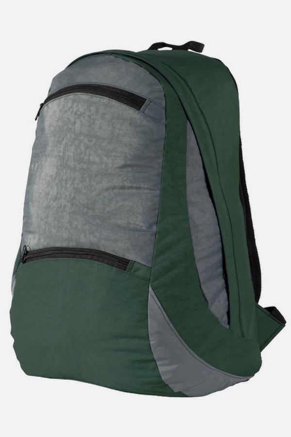 РюкзакРюкзаки<br>Лёгкий компактный городской рюкзак. Благодаря материалу Airmesh, которым обтянута спинка и плечевые лямки, обеспечивается удобство носки рюкзака.Мягкие регулируемые лямки обтянутые сеточкой. Вентилируемая спинка. Грудная стяжка. Два кармана с застёжкой молния на передней панели. Одно основное отделение на молнии, скрытой ветрозащитной планкой и двумя внутренними карманами.В изделии использованы цвета: зеленый, серыйРазмеры: 42*24*15 см.Объем 20л.<br><br>Размер : UNI<br>Материал: Полиэстер<br>Количество в наличии: 1