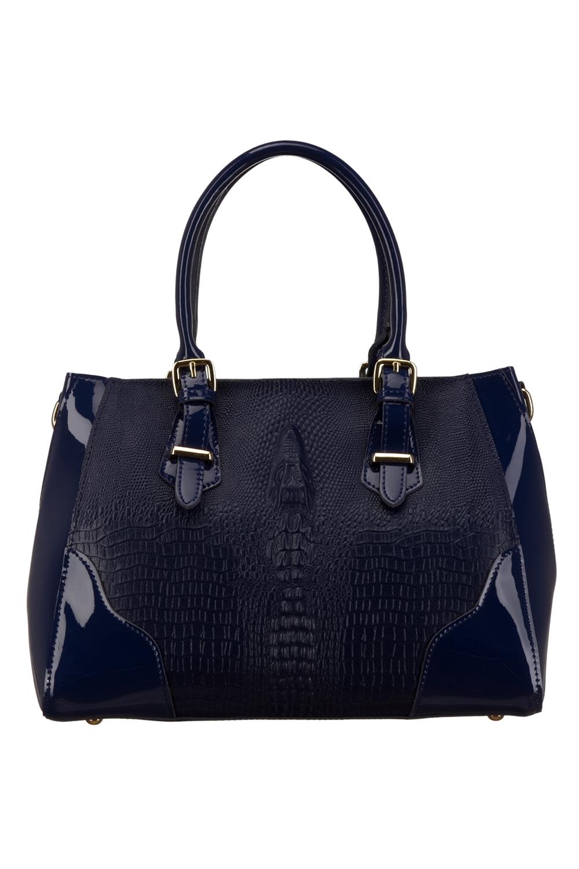 СумкаКлассические<br>Удобная и вместительная женская сумка. Модель выполнена из материалов двух фактур. Отличный выбор для завершения образа.  Цвет: синий  Параметры: 32*23*10 см.<br><br>По материалу: Искусственная кожа,Лакированная кожа<br>По размеру: Средние<br>По рисунку: Однотонные,Фактурный рисунок<br>По силуэту стенок: Прямоугольные<br>По способу ношения: В руках<br>По степени жесткости: Мягкие<br>По элементам: Карман на молнии,Карман под телефон<br>Ручки: Короткие<br>По сезону: Всесезон<br>Размер : UNI<br>Материал: Искусственная кожа<br>Количество в наличии: 1