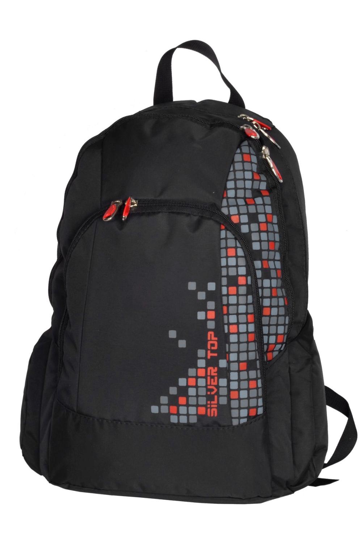 РюкзакПодростковые сумки<br>Молодежный рюкзак с принтом. Модель с застежкой на молнию и плечевыми ручками.  В изделии использованы цвета: черный, серый  Габариты: 46х29х12 см<br><br>По сезону: Всесезон<br>Размер : UNI<br>Материал: Полиэстер<br>Количество в наличии: 2