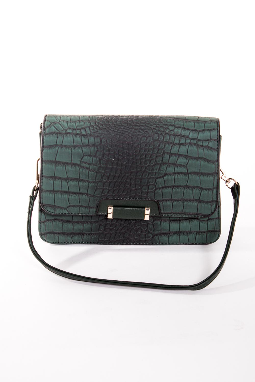 Классическая сумкаКлассические<br>Маленькая женская сумка.  Размеры: 23*16*3 см  Цвет: зеленый, черный<br><br>По материалу: Искусственная кожа<br>По размеру: Маленькие<br>По рисунку: Рептилия,Цветные,Фактурный рисунок<br>По силуэту стенок: Прямоугольные<br>По способу ношения: В руках,На плечо<br>По степени жесткости: Полужесткие<br>По типу застежки: С застежкой молнией,С клапаном<br>Ручки: Длинные<br>Размер : UNI<br>Материал: Искусственная кожа<br>Количество в наличии: 1