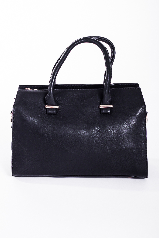 Классическая сумкаКлассические<br>Классическая женская сумка прямоугольной формы с двумя короткими ручками. Задний карман на молнии.  Цвет: черный  Размер:  длина 34 см высота 24 см ширина 11 см<br><br>По материалу: Искусственная кожа<br>По размеру: Средние<br>По рисунку: Однотонные<br>По способу ношения: В руках<br>По степени жесткости: Полужесткие<br>По типу застежки: С застежкой молнией<br>Ручки: Короткие<br>По форме: Прямоугольные<br>Размер : UNI<br>Материал: Искусственная кожа<br>Количество в наличии: 1