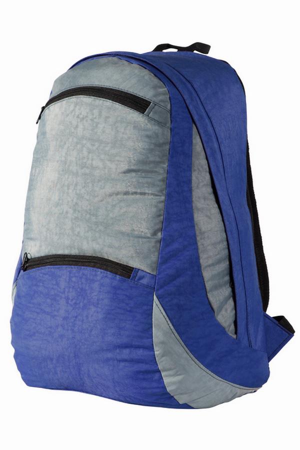 РюкзакРюкзаки<br>Лёгкий компактный городской рюкзак. Благодаря материалу Airmesh, которым обтянута спинка и плечевые лямки, обеспечивается удобство носки рюкзака.  Мягкие регулируемые лямки обтянутые сеточкой. Вентилируемая спинка. Грудная стяжка. Два кармана с застёжкой молния на передней панели. Одно основное отделение на молнии, скрытой ветрозащитной планкой и двумя внутренними карманами.  В изделии использованы цвета: синий, серый  Размеры: 47*25*20 см.  Объем 30л.<br><br>Размер : UNI<br>Материал: Полиэстер<br>Количество в наличии: 1