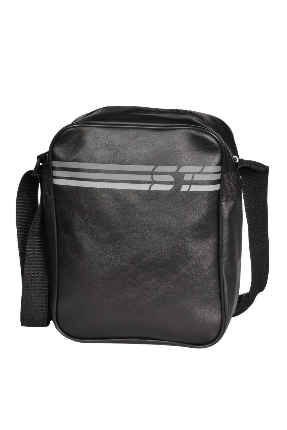 СумкаПодростковые сумки<br>Молодежная сумка в спортивном стиле. Модель с застежкой на молнию и одной плечевой ручкой.  В изделии использованы цвета: черный, серый  Габариты: 30*26*10 см<br><br>По сезону: Всесезон<br>Размер : UNI<br>Материал: Полиэстер<br>Количество в наличии: 1