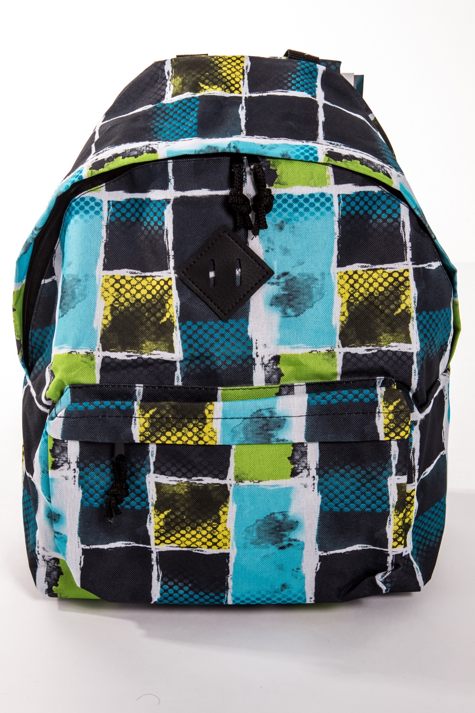 РюкзакРюкзаки<br>Модный рюкзак для активного отдыха или занятий спортом из качественных ярких материалов. Одно основное отделение на двухсторонней молнии. Снаружи передний карман на молнии, удобные лямки и ручка.  Размеры: 31,5*40*13 см  Цвет: синий, черный, салатовый, голубой<br><br>Размер : UNI<br>Материал: Полиэстер<br>Количество в наличии: 1