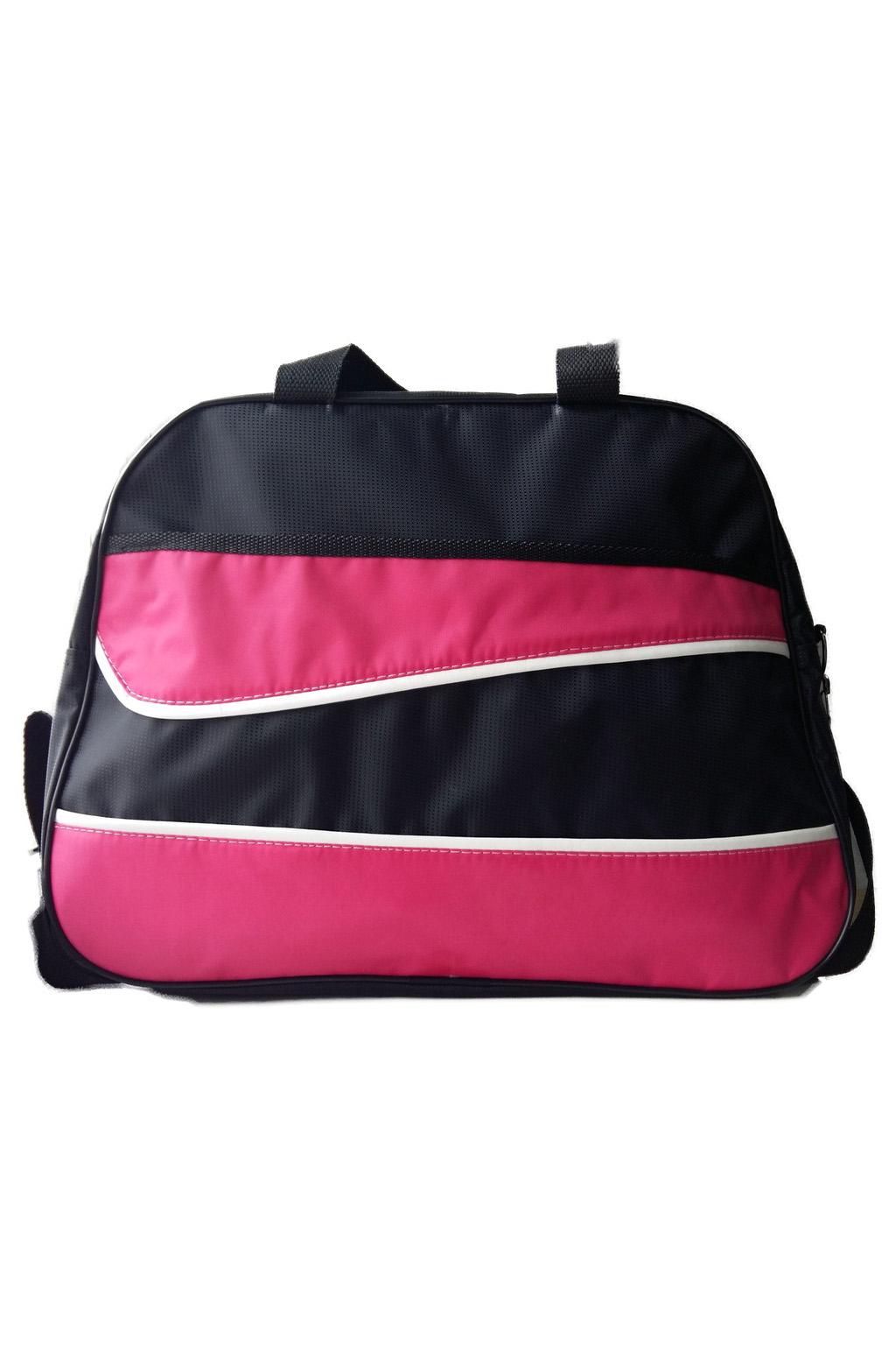 Спортивная сумкаСпортивные<br>Удобная и вместительная спортивная сумка.  Размер: 43*31*22 см.  В изделии использованы цвета: черный, розовый<br><br>По материалу: Тканевые<br>По рисунку: Цветные<br>По силуэту стенок: Трапециевидные<br>По степени жесткости: Мягкие<br>По типу застежки: С застежкой молнией<br>По сезону: Всесезон<br>Ручки: Короткие<br>Размер : UNI<br>Материал: Полиэстер<br>Количество в наличии: 2