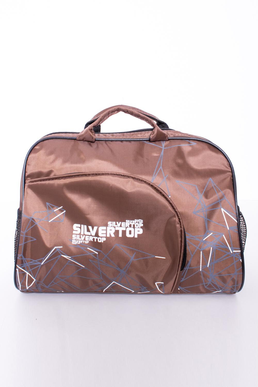 СумкаСпортивные<br>Удобная спортивная сумка с одной длинной и двумя короткими ручками. Модель с застежкой на молнию.  В изделии использованы цвета: коричневый, голубой, белый  Габариты, см: 35*27*20<br><br>Отделения: 1 отделение<br>По способу ношения: В руках,На плечо<br>По степени жесткости: Мягкие<br>Ручки: Длинные,Короткие,Регулируемые<br>Материал: Плащевая ткань<br>Рисунок: С принтом,Цветные<br>Застежка: С застежкой молнией<br>Размер : UNI<br>Материал: Полиэстер<br>Количество в наличии: 2