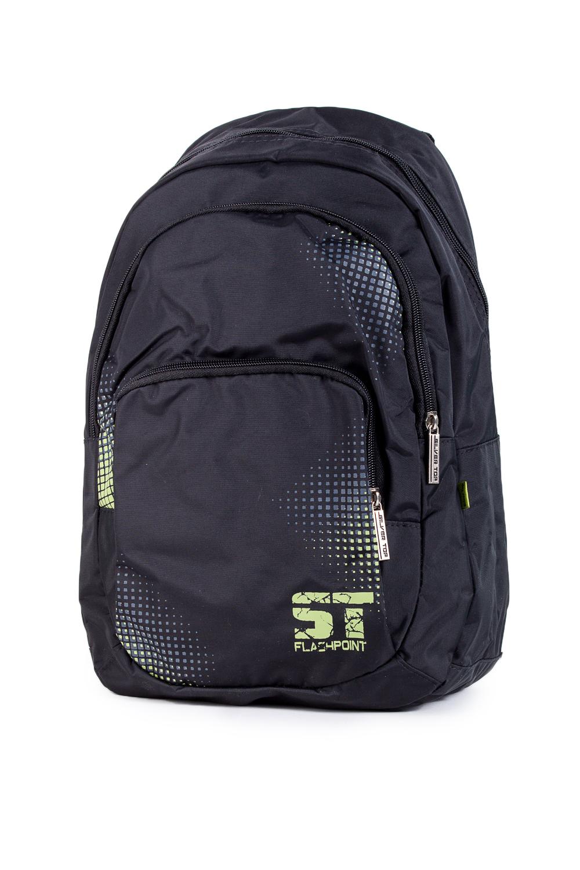 РюкзакПодростковые сумки<br>Молодежный рюкзак с принтом. Модель с застежкой на молнию и плечевыми ручками.  В изделии использованы цвета: черный, салатовый, голубой  Габариты, см: 46х29х12<br><br>По сезону: Всесезон<br>Размер : UNI<br>Материал: Полиэстер<br>Количество в наличии: 2