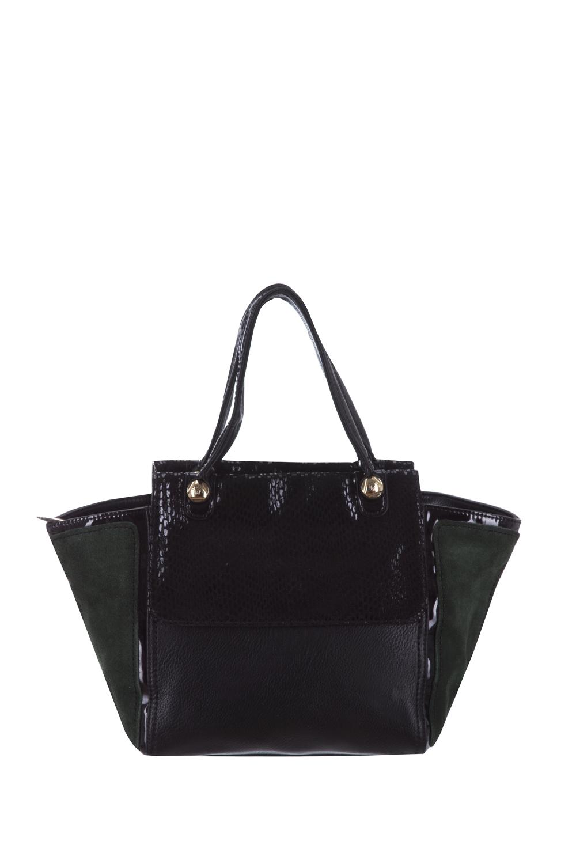 СумкаКлассические<br>Женская сумка – это незаменимый атрибут стиля и проявления индивидуальности каждой представительницы прекрасного пола. В нашем интернет - магазине Вы сможете подобрать нужную сумочку к любому образу и для любых событий.  В изделии использованы цвета: черный, зеленый.  Длина - 39 ± 1 см Высота - 25 ± 1 см Ширина - 9 ± 1 см<br><br>Отделения: 2 отделения<br>По материалу: Замша,Искусственная кожа<br>По размеру: Средние<br>По рисунку: Фактурный рисунок,Цветные<br>По способу ношения: В руках,На запастье,На плечо<br>По степени жесткости: Полужесткие<br>По типу застежки: С застежкой молнией<br>По элементам: Карман на молнии,Карман под телефон,С декором,С отделочной фурнитурой,С ремнями<br>Ручки: Длинные,Короткие,Регулируемые<br>По форме: Трапециевидные<br>Размер : UNI<br>Материал: Искусственная кожа + Натуральная замша<br>Количество в наличии: 1